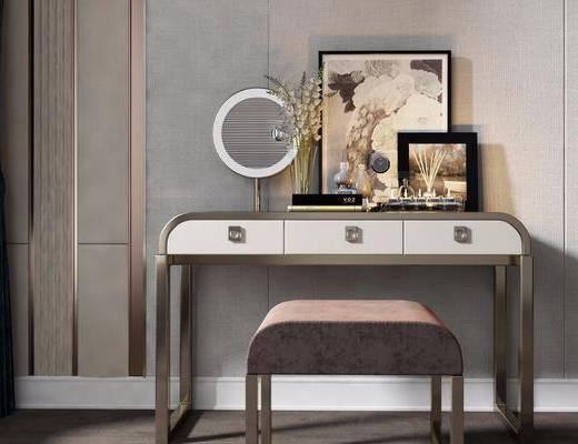 現代, 梳妝臺, 凳子, 擺件