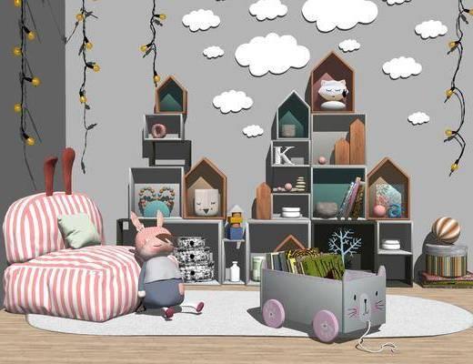 玩偶, 单椅, 置物柜, 墙饰