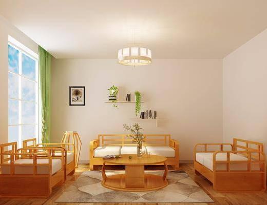 沙发组合, 多人沙发, 单人沙发, 茶几, 墙饰, 吊灯, 装饰画, 挂画, 新中式