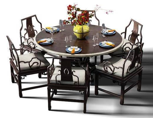 餐桌, 桌椅组合, 桌椅, 餐桌椅组合, 盆景, 植物, 中式, 新中式
