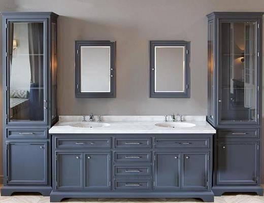 柜架组合, 卫浴, 洗手盆, 镜子