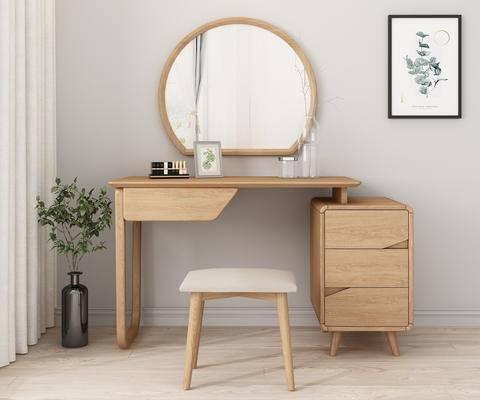 實木書桌, 梳妝臺, 花瓶, 綠植植物, 裝飾鏡, 植物畫, 裝飾畫, 凳子, 裝飾品, 陳設品, 北歐