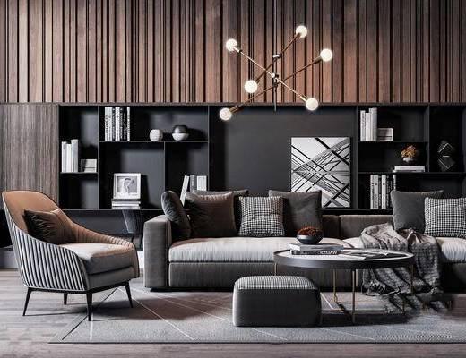 现代沙发, 边几, 装饰品