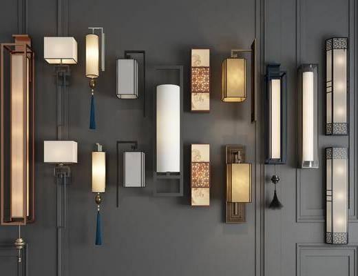 木质壁灯, 个性壁灯, 壁灯组合, 新中式