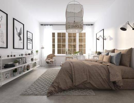卧室, 双人床, 床头柜, 壁灯, 吊灯, 装饰画, 挂画, 书桌, 单人椅, 休闲椅, 动物画, 装饰架, 摆件, 装饰品, 陈设品, 北欧