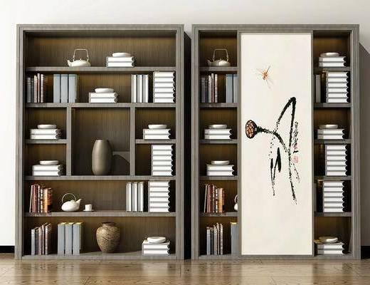 书柜, 书架, 陈列柜, 装饰柜, 书籍, 装饰品, 陈设品, 新中式