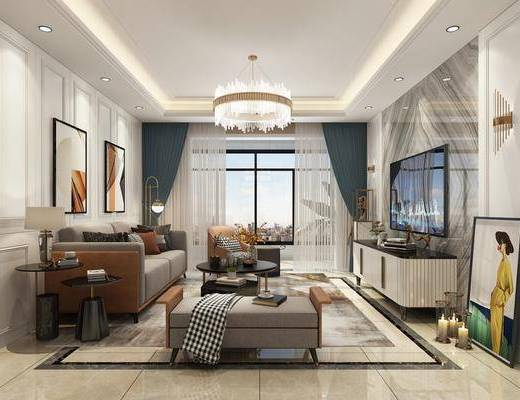 沙发组合, 装饰画, 吊灯, 电视柜, 餐桌, 酒柜