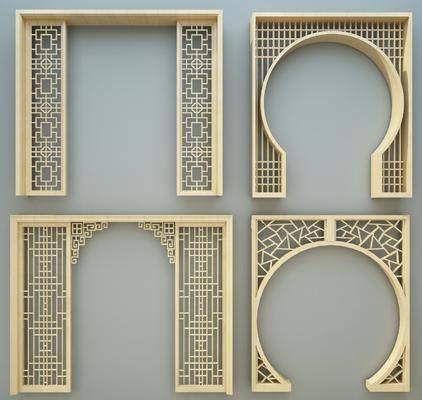 门套, 雕花板, 屏风, 隔断组合, 新中式