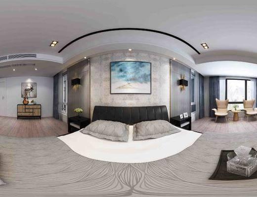 卧室, 现代卧室, 床, 装饰画, 床头柜, 壁灯