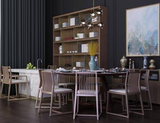 餐厅, 餐桌, 餐椅, 圆桌, 单人椅, 装饰画, 挂画, 装饰柜, 边柜, 书柜, 洗手台, 吊灯, 摆件, 装饰品, 陈设品, 北欧