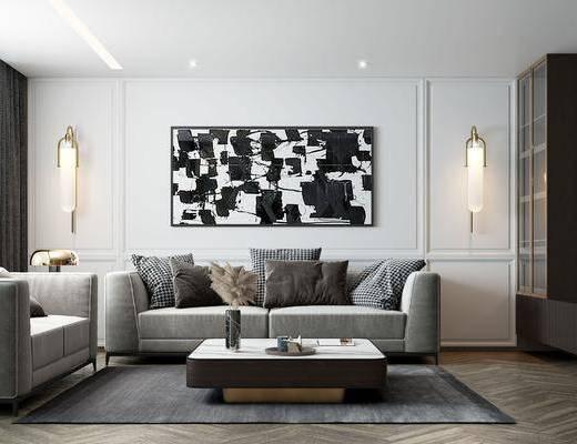 现代轻奢客厅, 双人沙发, 茶几, 挂画, 绿植, 壁灯