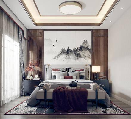 双人床, 床尾踏, 背景墙, 床头柜, 台灯, 床具组合