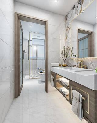 后现代, 卫浴, 卫生间, 洗手台, 镜, 坐厕, 浴室, 花洒, 摆件, 陈设品, 装饰品, 毛巾