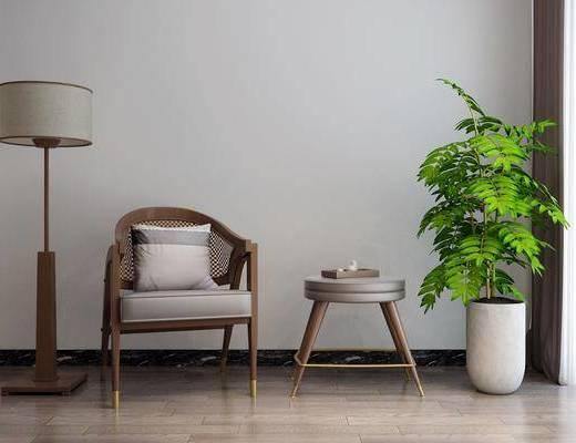 落地灯, 盆栽, 单椅, 茶几, 茶具
