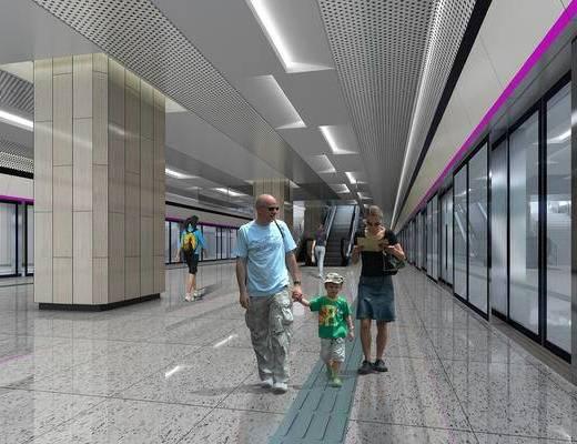 地铁, 火车, 车站, 站台, 地铁站