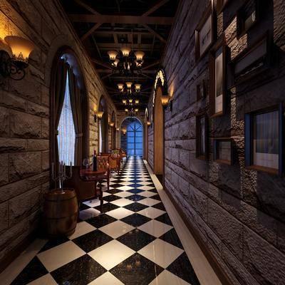 酒吧通道, 组合画, 单人沙发, 茶几, 壁灯, 吊灯, 工业风