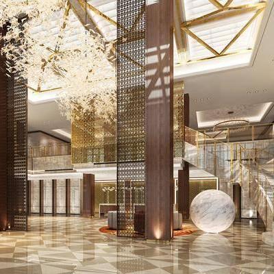 新中式酒店大堂, 新中式, 酒店, 大堂, 楼梯, 吊灯, 吧台