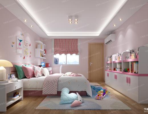 卧室, 双人床, 玩具, 女儿房, 现代卧室