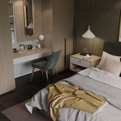 卧室, 女儿房, 现代, 北欧, 双人床, 吊椅, 装饰柜, 置物柜, 休闲沙发