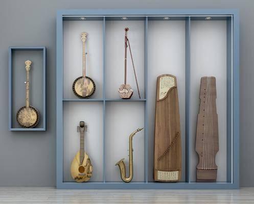 乐器组合, 乐器画具, 古筝琵琶, 萨克斯, 胡琴二胡, 新中式