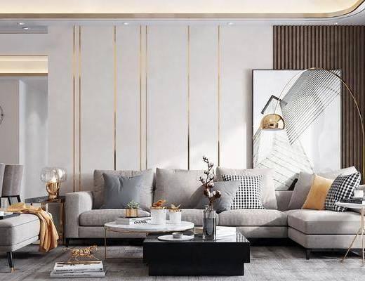 客廳, 餐廳, 沙發組合, 沙發茶幾組合, 邊柜組合, 壁燈組合, 掛畫, 餐桌椅組合, 擺件組合, 現代