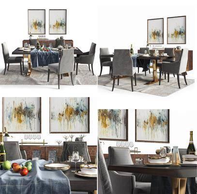 餐桌椅组合, 桌椅组合, 餐桌, 单椅, 椅子, 餐具, 摆件, 装饰品, 挂画, 现代, 现代餐桌椅组合