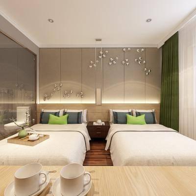 標準間, 酒店客房, 衛生間, 床具組合, 洗手臺, 花灑, 馬桶, 現代