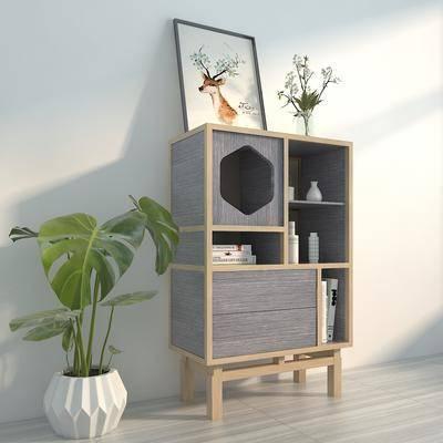 柜子, 装饰柜, 边柜, 北欧, 植物, 盆栽, 摆件, 陈设品