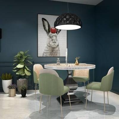 餐桌椅组合, 桌椅, 单椅, 装饰画, 盆栽, 吊灯, 北欧