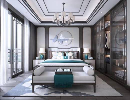 卧室, 服饰, 衣柜, 床尾凳, 双人床, ?#39184;?#26588;, 台灯, 墙饰, 吊灯, 新中式