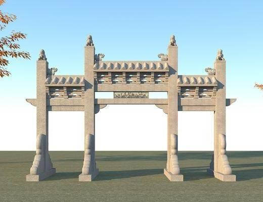 古建筑大门, 牌坊, 古建, 建筑