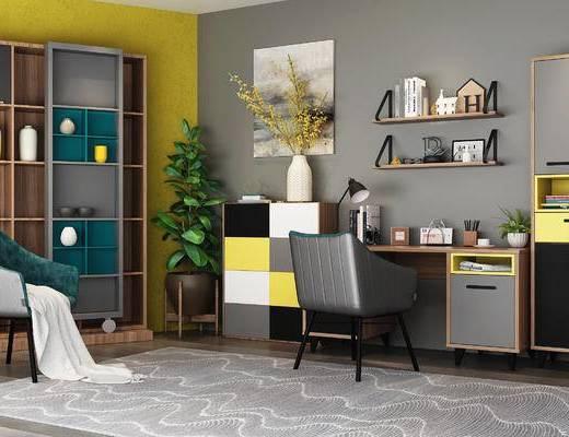 书桌椅, 书柜, 边柜, 单椅, 置物架, 盆栽, 北欧