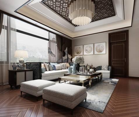 中式客厅, 客厅, 中式沙发, 茶几, 台灯, 装饰画, 中式吊灯