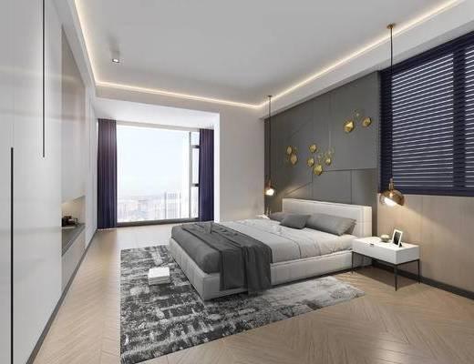 现代卧室, 床, 床头柜, 吊灯, 壁挂, 卧室