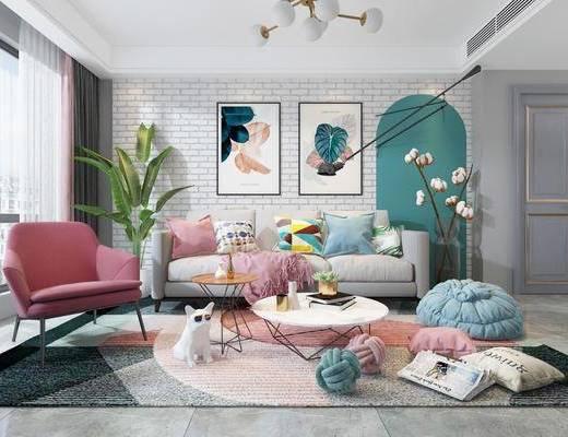 客厅, 沙发组合, 电视柜, 茶几, 吊灯, 装饰画, 单椅