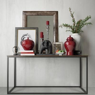 端景台, 盘栽, 花瓶, 陶瓷, 镜子, 相框, 水果, 现代