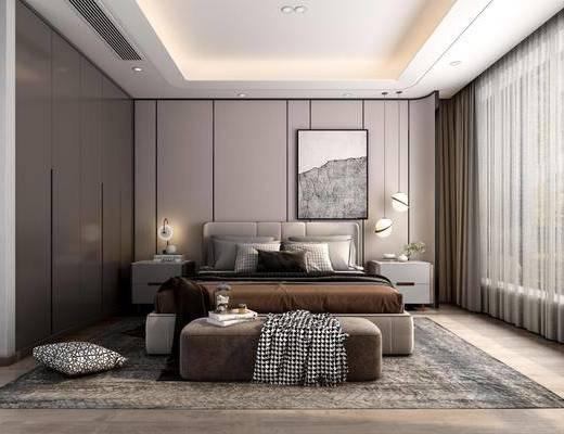 双人床, 装饰画, 床具组合, 吊灯, 床头柜
