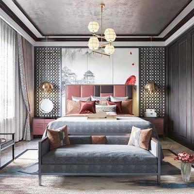 卧室, 新中式卧室, 床具组合, 摆件组合, 床尾踏, 单椅, 吊灯