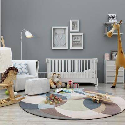 儿童床, 单人沙发, 摆件, 边柜, 落地灯, 装饰品