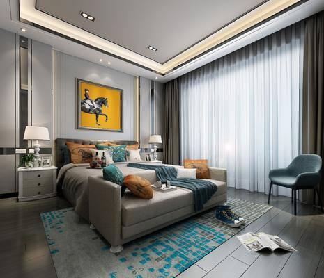 现代卧室, 现代床具, 挂画, 床头柜, 台灯, 床尾踏, 椅子