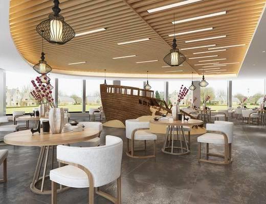 餐桌, 吊灯, 桌椅组合, 餐具组合, 桌花