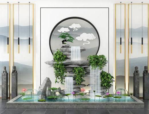 假山水景, 园艺小品, 绿植组合, 吊灯, 新中式
