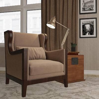 美式, 单椅, 单人沙发, 案几, 茶几, 台灯, 摆件, 装饰品