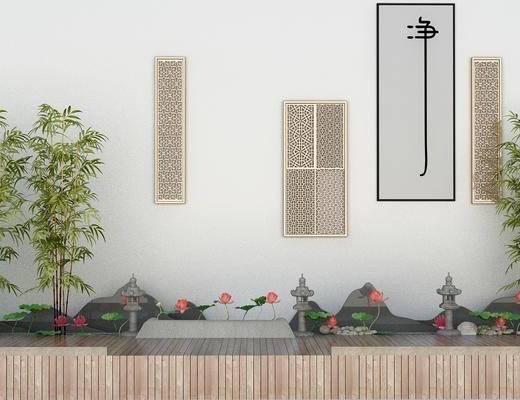 园林, 景观小品, 植物, 假山, 竹子, 荷花