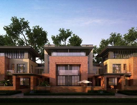 别墅, 树木, 绿植植物, 连栋别墅, 现代