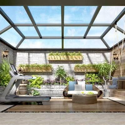 阳光房, 阳光房健身房, 吊椅, 墙饰, 植物墙饰, 露台, 阳台, 玻璃阳光房