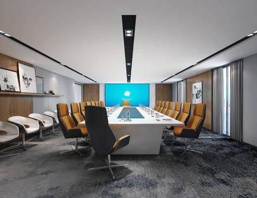 会议室, 单椅, 会议桌, 屏幕, 装饰画