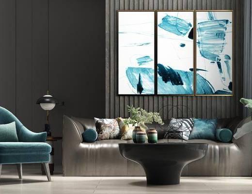 茶几, 饰品组合, 沙发组合, 单椅, 装饰画
