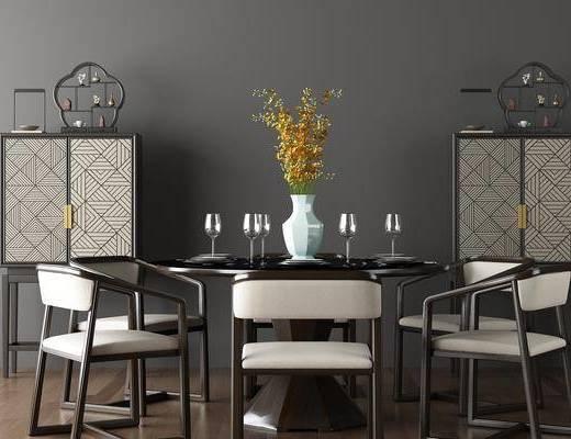 新中式, 餐桌, 椅子, 单椅, 餐柜, 边柜, 装饰柜, 置物柜, 摆件, 花瓶, 酒杯, 餐具, 陈设架, 陈设品