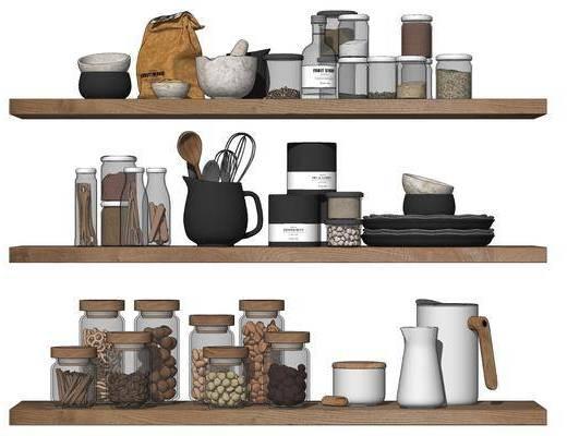 北欧厨房用品组合, 玻璃调味瓶调料架